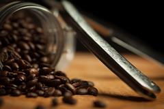 Coffee Beans and Cut Throat (Dan Hensey) Tags: life wood macro tree glass coffee canon grid beans still cut mason sigma bean jar mk2 5d throat speedlight softbox razor flashguns