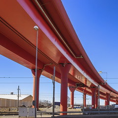 High Way (Thomas Rotte) Tags: bridge blue red sky abstract way gteborg high highway crossing post sweden gothenburg pillar viaduct sverige elevated curve swoosh