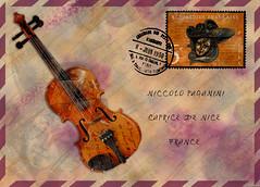 Pour Paganini (violscraper) Tags: music postes mask stamp violin envelope venetian mailart airmail postmark paganini republiquefrancaise niccolopaganini digitalmania