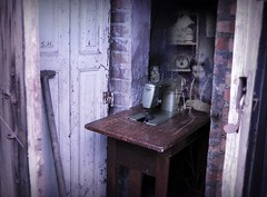 A modern tool for the young victorian Seamstress (pianocats16, miau...) Tags: door abandoned broken girl lost photo kitten village place little sewing room cottage victorian machine imagination seamstress