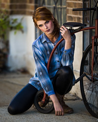 Rachel with Bicycle (Jeffrey Michael Parsons) Tags: blue red portrait people woman sexy girl beauty bicycle canon model gorgeous naturallight ef200mmf2lisusm eos5dmarkii rachelburford