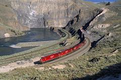 Summer morning in Black Canyon (Moffat Road) Tags: railroad canada train river bc britishcolumbia canyon cliffs locomotive canadianpacific cp ge ashcroft blackcanyon thompsonriver graintrain es44ac
