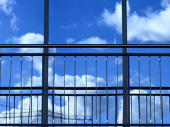 LinesNClouds (vertblu) Tags: blue white abstract reflection geometric window monochrome metal architecture reflections metallic azure wires handrail abstraction geometrical railing windowpane abstrakt abstractarchitecture mirroring reflectedclouds colorfulworld cmwdblue twistedwires reflectedskies vertblu reflectedcrane
