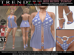 TREND - SEXY BUNNY OUTFIT - PURPLE (Jazzy Serra) Tags: bunny panties easter venus secondlife heels playboy isis freya belleza easterbunny physique hourglass tmp nighty maitreya negligee slink sexybunny themeshproject meshbodies