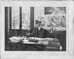 Brig. Gen. William Harts at desk in France (Madison Historical Society) Tags: old people bw usa history hat museum photo interesting flickr image connecticut interior military country wwi picture ct places indoor scan worldwari madison historical inside greatwar firstworldwar route1 mhs conn 1stworldwar bostonpostroad leeacademy madisonhistoricalsociety madisonhistory bobgundersen