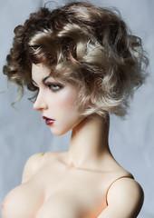 commission wig (SophyMolly) Tags: doll curly wig short mohair blonde romantic bjd angora artdoll custom soom commission abjd vivien blondy elfdoll customdoll