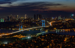 Istanbul from Camlica Hill (Aleem Yousaf) Tags: bridge light sunset panorama turkey photo nikon long exposure walk hill trails istanbul bosphorus d800 70200mm camlica