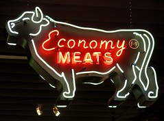 Economy Meats Sign at the Museum of Neon Art (MONA) in Glendale, CA (hmdavid) Tags: california sign museum vintage design cow neon glendale mona bull economy meats midcentury museumofneonart