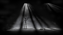Pain of a Puppet (Tony Agramunt) Tags: wood light shadow blackandwhite bw night pain mood sad puppet cry sunk sewer photoedition clevert