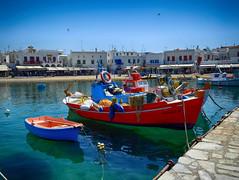 Fishing boats in Mykonos Harbor, Greece (` Toshio ') Tags: water greek harbor pier boat europe european greece fishingboat europeanunion mykonos toshio greekisland mykonostown mykonosharbor xe2 fujixe2