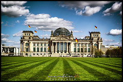 Berliner Reichstag (Krueger_Martin) Tags: blue sky berlin green architecture clouds 50mm colorful himmel wolken reichstag grn blau farbig hdr bunt rasen regierungsviertel canonef50mmf14usm photomatix festbrennweite governmentdistrict primelense canoneos5dmarkii canoneos5dmark2