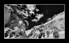 Albufeira in Infra-Red (Dave-Mcclean 67) Tags: sky bw beach portugal monochrome seaside highcontrast cliffs infrared albufeira