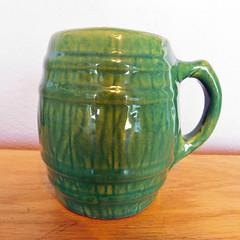 Vintage Nelson McCoy Pottery Green Glazed, Barrel-Shaped Beer Mug (karalennox) Tags: 1920s green beer vintage ceramics barrel nelson mug pottery etsy stein mccoy