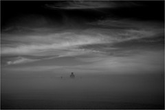 View Across The Mersey (antonywakefield) Tags: morning sky blackandwhite bw mist monochrome misty fog liverpool buildings river dark foggy