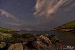 Sounio Night Time (Alexis Methenitis) Tags: longexposure nightphotography blue sea sky moon green water night clouds canon reflections stars landscape coast spring rocks europe outdoor sony hellas greece galaxy shore moonlight sounio canonef1635mmf4lisusm sonya7rii sonyilce7rm2 sonya7rm2 sonya7rmkii metaboneseftoemkiv