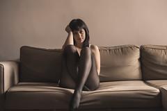 Giulia (Marcello Iaconetti Photography) Tags: portrait italy woman feet ikea girl beauty face hair nude torino poser nikon italia legs her couch sguardo nikkor turin divano ritratto piedi giulia gambe lightroom 5014 d600