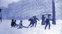 'Snow Storm' by M. Toch - 1899 (SSAVE w/ over 5 MILLION views THX) Tags: city people snow children snapshot snowstorm snowing sleds blowingsnow 1899 vintagephotographs