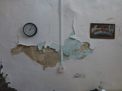 wall (vasso giannaki) Tags: color detail clock kitchen wall paint decay noon outlet