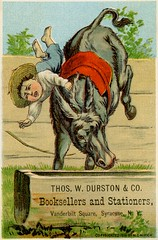 Thomas W. Durston and Company, Booksellers and Stationers, Syracuse, New York (Alan Mays) Tags: old blue red horses brown ny newyork green boys water animals vintage ads paper advertising children typography clothing funny humorous comic antique humor victorian hats illustrations ephemera clothes type syracuse amusing advertisements fonts mules printed borders printers stationers bookstores companies typefaces bucking thrown durston watertroughs 1880s booksellers troughs 1881 lithographers tradecards mirick wateringtroughs thoswdurstonco thomaswdurstonandcompany thomaswdurston vanderbiltsquare mcmirick