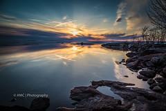 Sunset Park ({Andrea}) Tags: blue sunset sky seascape reflection clouds landscape rocks shoreline lakenipissing canoneos6d week17theme 52weeksthe2016edition week172016 weekstartingfridayapril222016 mytownwhereilivepostcard