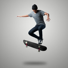 Skateboarder (Patrick Foto ;)) Tags: boy portrait people white man male guy smile fashion sport kids modern youth asian fun happy kid cool jump jumping child play skateboarding background board skating over young teens posing teen skate skateboard teenager skater isolation concept athlete isolated skateboarder active