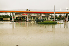 April 18th Floods in Houston Texas (wyojones) Tags: street cars water rain creek klein texas shell houston april floods servicestation 2016 cypresscreek overthebanks