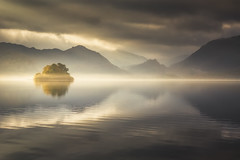 Illumination (Vemsteroo) Tags: morning autumn cloud mist lake mountains fall nature water beautiful fog sunrise canon landscape island derwent lakedistrict cumbria fells 5d serene derwentwater cloudscape mkiii 2470mm circularpolariser visitengland leefilters visitbritain
