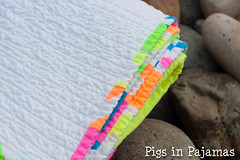 Neon quilt binding (pigsinpajamas) Tags: neon quilt fabric batting layercake basting backing jellyroll rileyblake