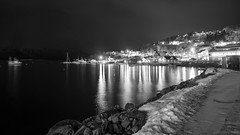 And all she had was the city (OR_U) Tags: longexposure winter sea blackandwhite bw snow mountains ice water norway landscape boats lights blackwhite movement cityscape nightlights harbour widescreen le refraction fjord oru schwarzweiss 169 2015 lyngseidet theweeknd