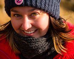 Sam (grahamrobb888) Tags: red sun girl smile scarf warm sam nikkor nikond800