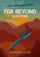 Far Beyond Sessions [Poster] (ricardoduplos) Tags: red yellow mystery illustration vintage poster turquoise space events retro textures scifi movies artdeco spaceship drama baron lavanderia screenings liberdade229 farbeyondsessions