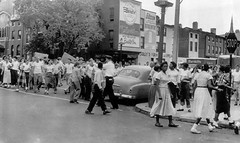 White riot over desegregation in Baltimore: 1954 (washington_area_spark) Tags: school white black high riot md african protest attack maryland 1954 baltimore assault demonstration southern american integration segregation desegregation