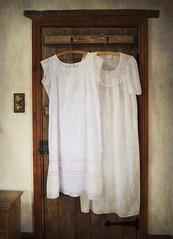 Untitled (vesna1962) Tags: white vintage bedroom linen cottage hanging textured nightdress woodendoor