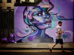Art Decade (Douguerreotype) Tags: street city uk england people urban streetart brick london art face graffiti purple britain lane shoreditch gb british