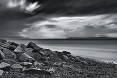Storm Clouds at Crescent Beach (gordeau) Tags: longexposure bw beach clouds rocks stormy gordon crescentbeach ashby bluetoner gordeau