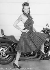 B&W portrait of a biker babe (Alaskan Dude) Tags: fashion portraits model women photoshoot modeling models danielle pinup photoshoots