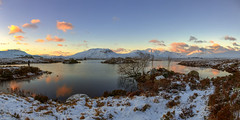Rannoch Moor at Sunrise (MilesGrayPhotography (AnimalsBeforeHumans)) Tags: uk morning winter sky panorama moon snow mountains cold ice skyline sunrise canon reflections landscape outdoors photography eos dawn scotland morninglight photo highlands rocks europe glow britain pano scenic freezing scottish panoramic nd glencoe loch iconic waterscape 6d rannochmoor lochan rannoch scottishhighlands ptgui blackmount lochannahachlaise canon6d