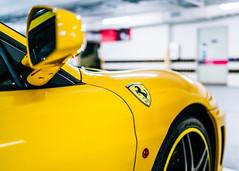 Ferrari (drumbunkerdragon) Tags: yellow hospital mirror singapore colorful bright sony ferrari warehouse ii rims carpark f430 rx1r