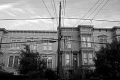 Power Pole, Wires and Victorian Homes, Mission District - San Francisco, CA (Rex Mandel) Tags: sf sanfrancisco street blackandwhite bw architecture missiondistrict themission telephonewires victorianhomes victorians