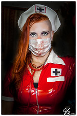 """""""Next, Please"""" (ViTaRu) Tags: red people sexy beautiful canon costume eyes photoshoot mask cosplay redhead stained fantasy nurse bloody stethoscope pvc roleplay 1635mmf28l 5dmk2"""