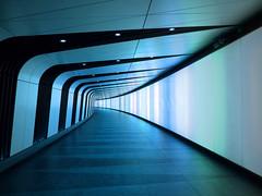 Kings Cross Blue (only lines) Tags: blue london architecture corridor kingscross stpancras