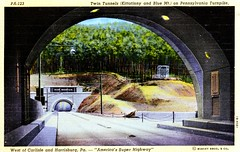 Twin Tunnels Kittatinny and Blue Mountain on Pennsylvania Turnpike PA (Edge and corner wear) Tags: road railroad vintage pc highway pennsylvania postcard rr tunnel system pa interstate turnpike americas superhighway