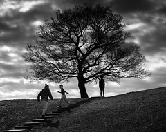 Waiting (paveltravnicek89) Tags: blackandwhite tree silhouette clouds branches running spooky horizont playingkids