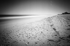 Black and White Beach - Long Exposure - OCMD (jerrykiesewetter) Tags: ocean city sea sky shells white seascape black beach landscape sand waves footprints maryland surrreal
