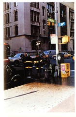 NYC Firemen at 68th St. and Lexington Ave. (Hunter College Archives) Tags: nyc newyorkcity yearbook hunter 1992 firemen lexingtonave huntercollege 68thst wistarion thewistarion