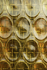 Circles and squares (DjaronvanBeek) Tags: light urban vortex abstract detail glass monochrome lines yellow vertical horizontal closeup composition design pattern shine angle outdoor squares geometry circles curves symmetry minimal textures repetition swirls ironwork transparent goldenhour raster glasswork greenish aesthetic redish refined crossinglines linescurves whirls 1000faves djaron abitoutdated asgold littlebars djaronvanbeek detailofahouse littlewindowindoor popularin70s processedglass