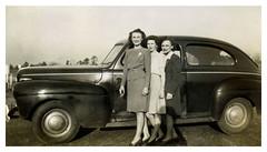 Road Trip (vintagesmoke) Tags: monochrome car vintage found photo women automobile cigarette snapshot group smoking photograph