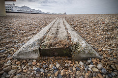 The Brighton Sleeper (Sean Hartwell Photography) Tags: wood uk sea beach sussex coast pier seaside brighton shingle wideangle pebbles coastal british sleeper palacepier 1122mm lowpov canoneosm3