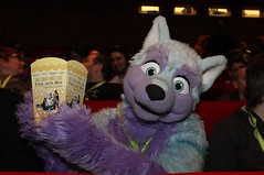 This was me, watching #Zootopia #ZooU #ZooMe #Zoomania #Zootropolis at the cinema at Nordicfuzzcon :3 #popcorn (Keenora Fluffball) Tags: furry kee fursuit keenora
