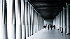 Stoa of Attalos (Dave G Kelly) Tags: blackandwhite bw monochrome vanishingpoint columns athens greece walkway portico ancientagora